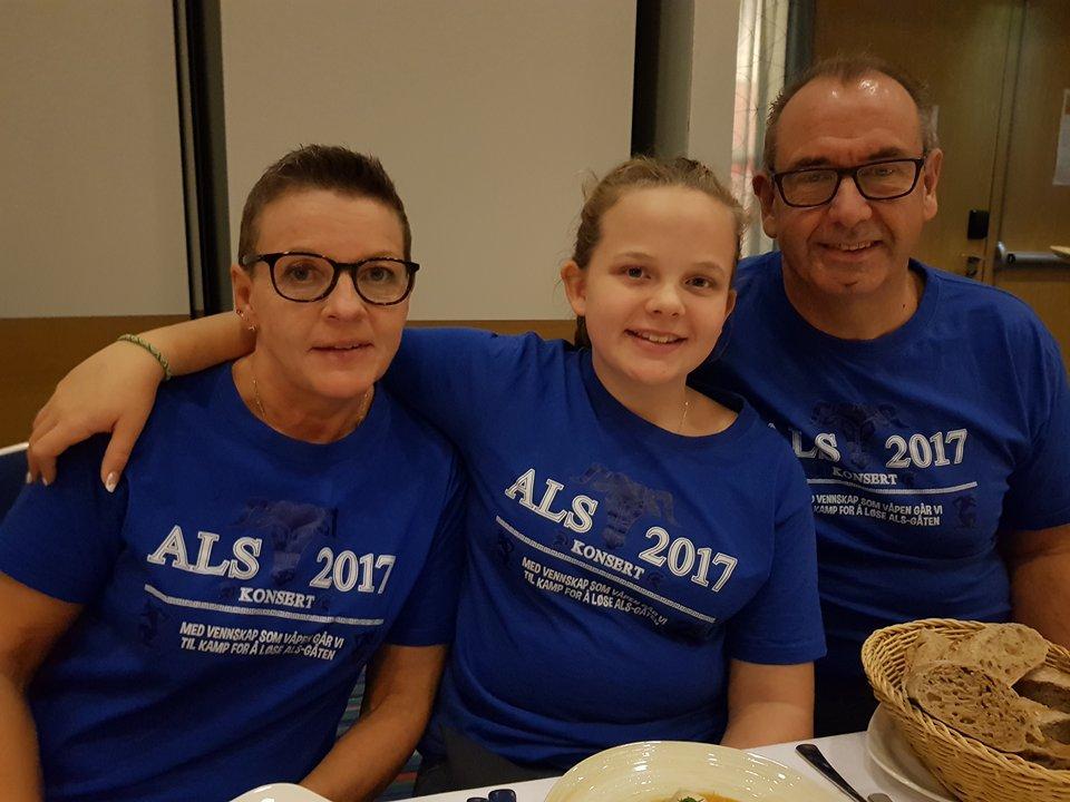 Linea, Wenche Midtbø Helgestad og Helge Helgestad. Linea laget ALS konsert i mai 2017 og samlet inn 555.000 kr til forskningen.